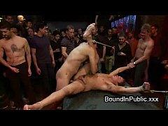 Gays fucking pole dancer in bondage