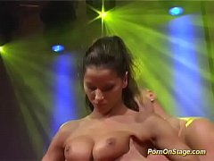 crazy pornshow on public sex fair stage