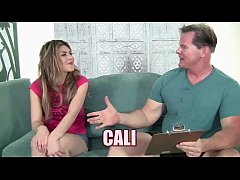 Blonde teenager Cali is taking some dick from a...
