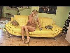 Blonde and a yellow couch can be very entertaining