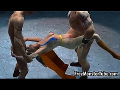 3D cartoon Supergirl getting double teamed outd...