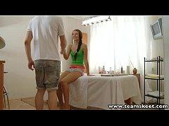 RubATeen European teen Aline massage room fucked