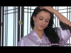 Lesbian masseuse rubs and licks