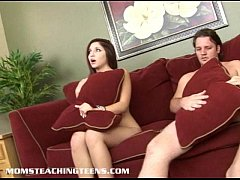 Milf Catherine joins in after she catches teen Lexi in the act