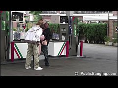 Very pregnant girl PUBLIC threesome at a gas st...