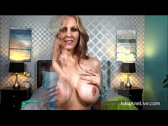 Blonde Milf Julia Ann Fingers her Pussy in Bed!