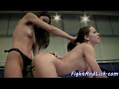 Wrestling lesbians enjoy playing with toys