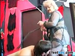 Granny Gets Her Feet Worshipped By A Slave