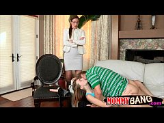 Stepmom fucked Ava with her strapon toy while s...
