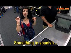 Hot busty latina sells her old TV and fucked at the pawnshop