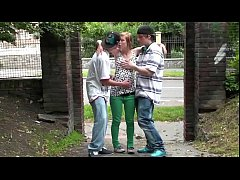 Street threesome with cute teen blonde girl Ale...