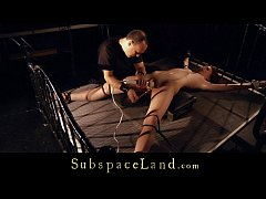 Subgirl tied and leg spead for intense bondage ...