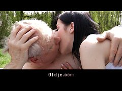 Young brunette slut fucks with grandpa in the park