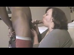 mature BBW fucks young black cock in hotel room...