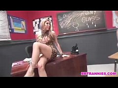 Slutty blonde shemale gets a facial