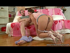 FirstAnalQuest.com - ANAL LOVERS HAVE STEAMY SEX IN HER PRETTY PINK BEDROOM