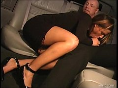 Spoiled rich girl blows limo driver in limousin...