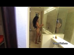 Tranny showering behind the scenes