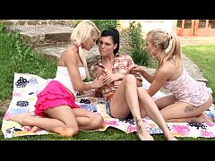 teen horny lesbians making out in outdoor threesome