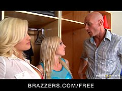 Two blonde bombshell dancers fuck their coach i...