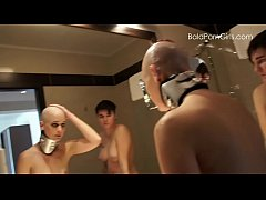 Lesbian girl shaves her nude slut's head smooth...