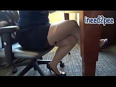 Ami female pee desperation & wetting her panties pants
