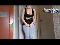 Ami female pee desperation & wetting her pantie...