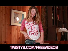 Sexy petite teen Staci Silverstone fingers hers...