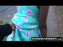 Blonde Young Ebony In Street Blowjob Sloppy Hea...
