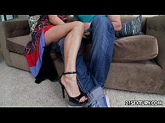Sexy Asian dame calls a man to pleasure her feet.