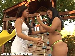 Two Horny Girls Fucking In The Backyard