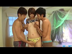 Seira Matsuoka feels needy to have a rough threesome fuck
