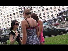 Slutty girls in outdoor pickup fuck