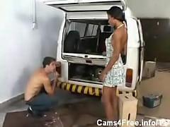 Shemale Hot Black Tranny garage