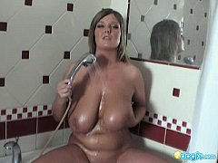 Volumptous Milf Jennifer washing her mega bigtits