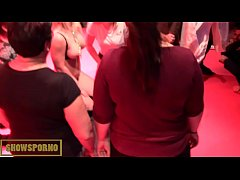 Funny show with hot french blonde and black mon...