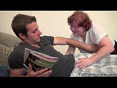 Full figured grandma seduces son's friend