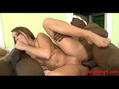 Pretty brunette teen girls Haley Sweet interracial group sex