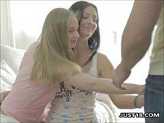 Two Lesbian Teen In Hot Threesome Fucking