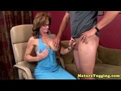 Big titted handjob lover tugs
