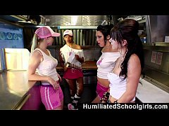 HumiliatedSchoolGirls - Sexy black waitress gives full service to a big dick