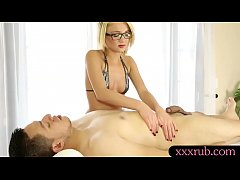 Masseuse in glasses blowjobs client cock