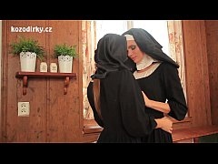 Two sexy catholic nuns praying togather in the ...