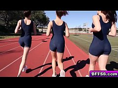 Sexy lesbian athletes explore with their pussies