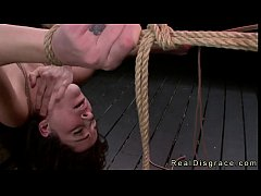 Tied up babe gangbanged by master and fucking m...