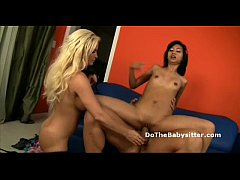 Busty wife and babysitter with braces ride husb...