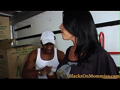Busty milf housewife fucks black movers