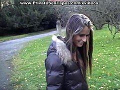 I fuck my hot girlfriend in the forest and in b...
