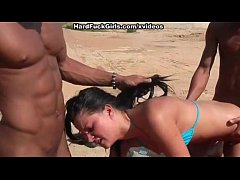 young brunette fucked on the beach in all holes