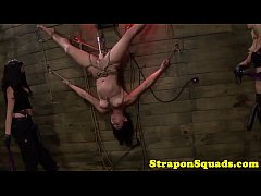Tiedup inverted sub flogged by lezdoms
